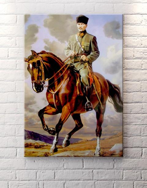 Atatürk Yağlı Boya Görüntülü At Üstünde Kanvas Tablo