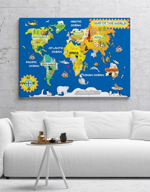 Dünya Haritası Çocukça Kanvas Tablo