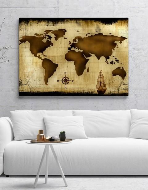 Kahverengi Dünya Haritası Kanvas Tablo