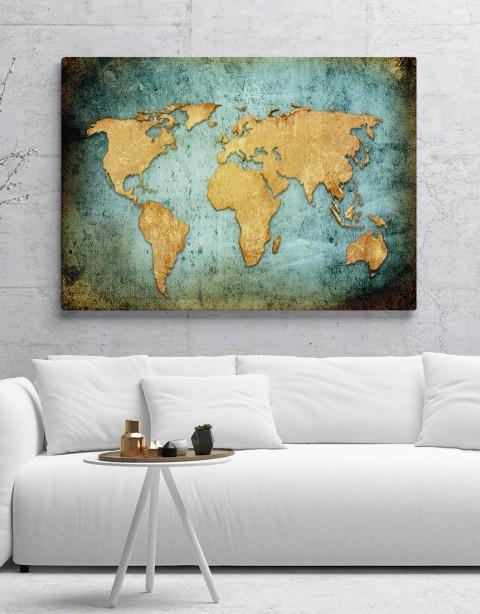 Mavi Dünya Haritası Kanvas Tablo