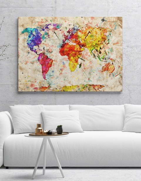 Renkli Dünya Haritası Kanvas Tablo